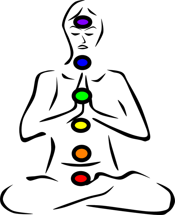 sitting person with chakras
